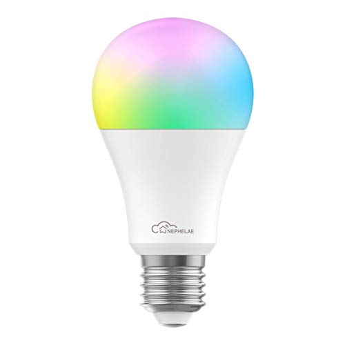 Nephelae Smart Wi-Fi LED Light Bulb, Multicolor, A19, Dimmable, No Hub Required, Compatible with Alexa, Google Assistant and IFTTT