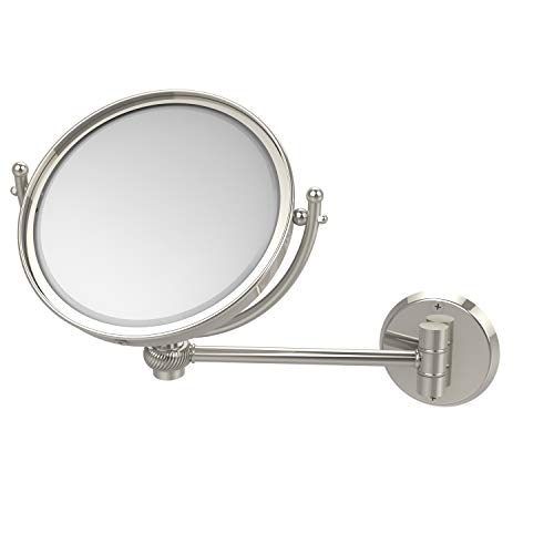 Allied Brass WM-5T/4X-PNI 8 Inch Wall Mounted 4X Magnification Make-Up Mirror, Polished Nickel