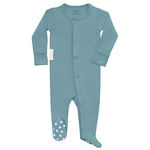 Made in USA Organic Cotton Baby Onesie Footed Pajamas | Unisex Sleeper Clothes (Bluebird, 0-3 Months)