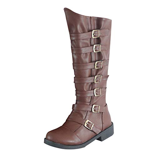 Deloito Damen Retro Langschaft Stiefel Runder Zeh Niedriger Absatz Leder Boots Schnallenriemen Über das Knie Schlupfstiefel Western Ritter-Schuhe (Braun,39 EU)