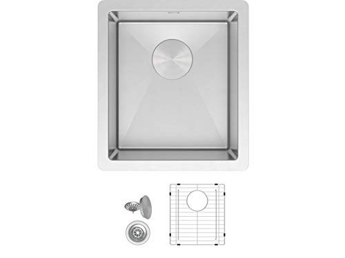 ZUHNE Modena 15 x 17 in Small Undermount Single Bowl 16 Gauge Stainless Steel RV, Utility, Bar and Prep Kitchen Sink W. Scratch Protector Grate and Strainer