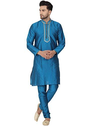 SKAVIJ Seda Lujoso Kurta Pijama Bufanda (Camisa Larga y Pantalón) para Hombre Turquesa XL