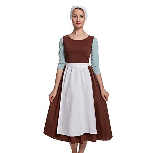 HEQU Cinderella Cosplay Dress Women Peasant Cinderella Costume Maid Outfit(L Cinderella)