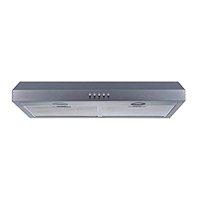 Winflo 30 In. 350 CFM Convertible Stainless Steel Under Cabinet Range Hood with Mesh Filters and Push Button Control
