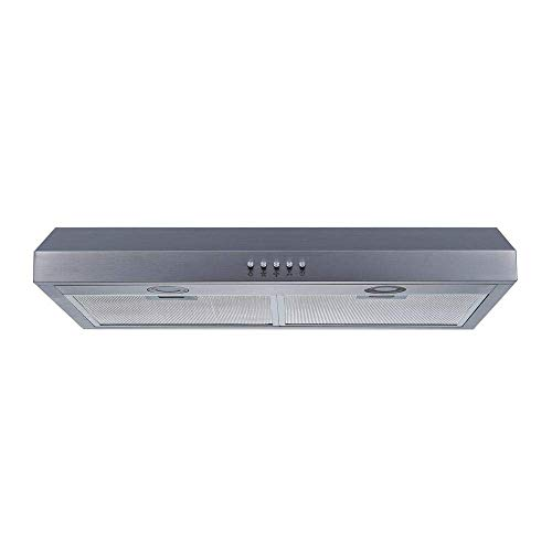 Winflo 30' 350 CFM Convertible Under Cabinet Range Hood in Stainless Steel with Mesh Filters and Push Buttons