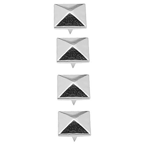 100 pcs Pyramid Studs Cuadrado Stud Remache DIY Spike Punk Spikes Spots para la artesanía de cuero de bricolaje 8mm Suministros de costura de plata