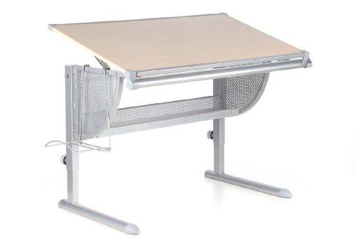 hjh OFFICE 705010 Kinder- und Jugendschreibtisch NENOS Buche/Silber Schreibtisch höhenverstellbar & neigbar