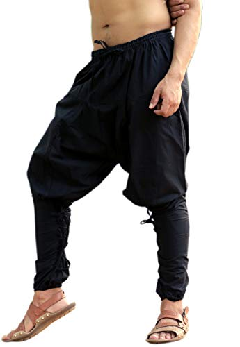 Sarjana Handicrafts Mens Womens Cotton Churidar Harem Pants Yoga Pajama Ethnic Trouser (Black)