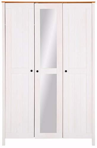 Loft24 Kleiderschrank Landhaus weiß Drehtürenschrank mit Spiegeltür Dielenschrank Garderobe Holz 3 Türen, 1 Kleiderstange, 133 x 58 x 202 cm (weiß & Honig)