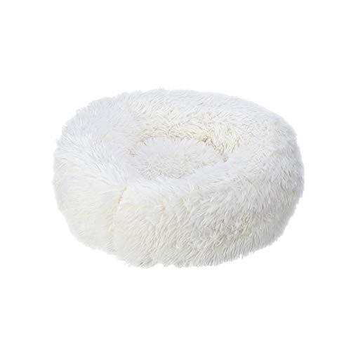 ASDFGT-778 Super weiche Haustier Bett Kennel Hund Runde Katze Winter Warme Schlafsack Lange Plüschwelpen Kissenmatte Tragbare Katze Zubehör 46/50 / 60 cm (Color : White, Size : 60cm)