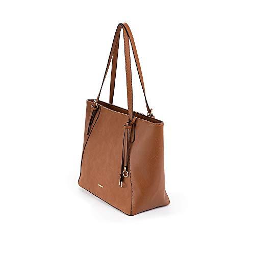 PACO MARTINEZ | Bolso shopper texturas para mujer | Combinadas asa regulable | 28x38,5x14 | Marrón Cuero