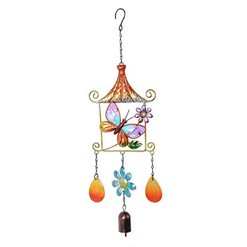 Shop LC Delivering Joy Home Decor Multi Color Butterfly and Flower Pattern Iron Wind Chime 30