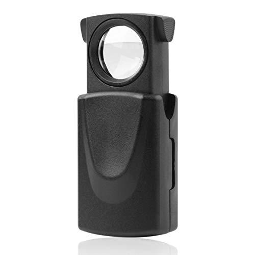 Paperllong 1 Pieza Mini Bolsillo 30x21mm microscopio Negro LED Ojo Plegable Lupa...