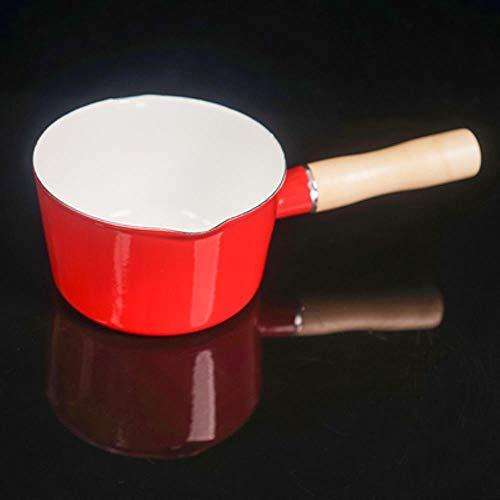 Ltong 1200 ml emaille enkel handvat melk koffie verwarming pot babyvoeding koken sauspan keuken pot voor inductiekookplaat, rood