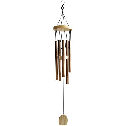 "29"" Classic Aluminum Wind Chimes, Amazing Grace Wind Chime, 5 Aluminum Alloy Tube and Wood Design, Durable and Hand Tuned, Inspirational Music Collection for Outdoor Patio Backyard Home Decor, Bronze"