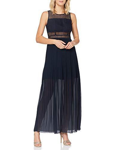 APART elegancka damska sukienka, sukienka wieczorowa, długa, niebieska, wąski krój, z koronką, plisowana spódnica, częściowo przezroczysta, niebieski (nachtblau), 34 PL
