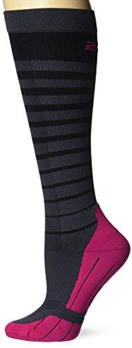 Gestreifte Kompressions Lauf Socken Damen - 2XU Größe L, Farbe schwarz/kirsch pink