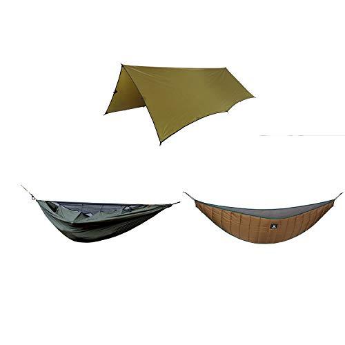 OneTigris Hideout Hammock Underquilt + Bulwark All Season Camping Tarp + KOMPOUND Camping Hammock