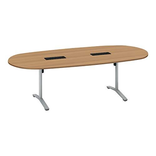 コクヨ ミーティングテーブル ビエナ 天板固定 楕円形 T字脚 塗装脚 配線ボックス付き 幅240×奥行105cm キャスター仕様 ラスティックミディアム/フラットシルバー