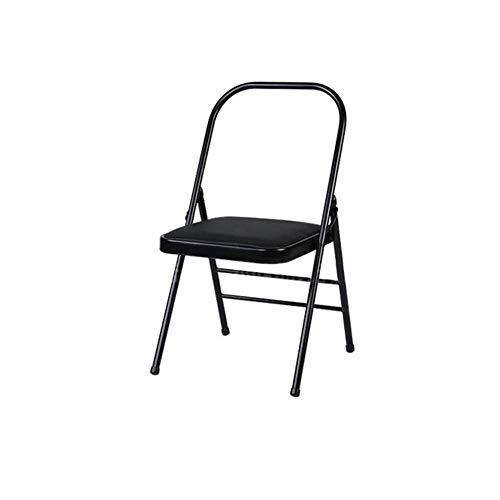 ECSD Rembourré en Acier Renforcé Professionnel Yoga Auxiliaire Chaise Pliante, en Cuir PU/Mesh Siège, Coussin Double Éponge (Couleur : Noir)
