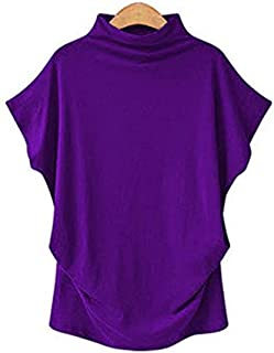Women Casual Turtleneck Short Batwing Sleeve Blouse Female Cotton Solid Plus Size Tops Ladies Shirt Clothing (Color : Lave...