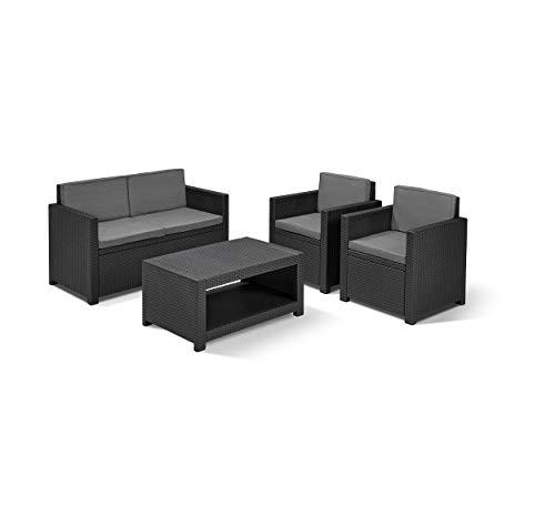 Koll Living Lounge Set Korsika in anthrazit, inkl. Sitzauflagen & Rückenkissen, langlebiger & wetterfester Kunststoff in Rattanoptik, 2 Sessel + 1 Sofa + Tisch - 5
