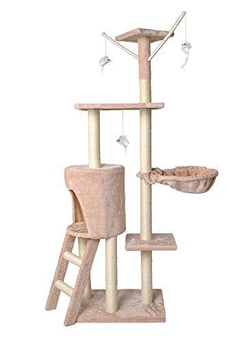 MALATEC Katzen-Kratzbaum mit Sisal-Säulen Spielzweigen Klettergerüst Stabiler Kletterbaum 138 cm Grau/Beige/Braun/Schwarz 7927, Farbe:Beige