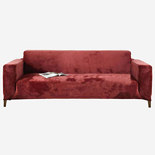 SINKITA Thicken Velvet Sofa Slipcover,1 2 3 4 Seater Couch Cover Anti Scratch Furniture Protector Sectional L Shape Sofa Cover Pets Kids Children Dog Cat-Wine red-2 Seater (145-185cm) 57-73in