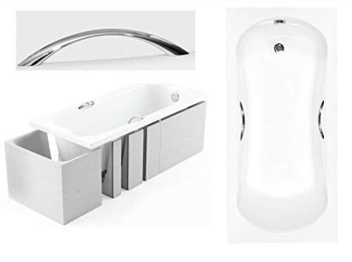BADLAND Rechteck Badewanne Ari 150x70 mit Wannenträger, Handgriffen, Ablaufgarnitur und Füßen GRATIS