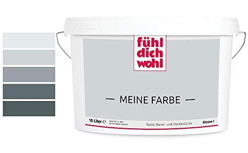 Fühl Dich Wohl Meine Farbe grau, matte Wandfarbe grau, hohe Deckkraft, verschiedene Grautöne zur Auswahl (2,5L, Hellgrau 15-17)