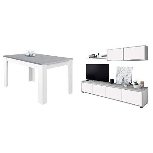 Habitdesign Mesa de Comedor Extensible, Mesa salón o Cocina, Acabado en Color Blanco Artik y Gris Cemento, Modelo Kendra + 016663L Mueble de salón Moderno