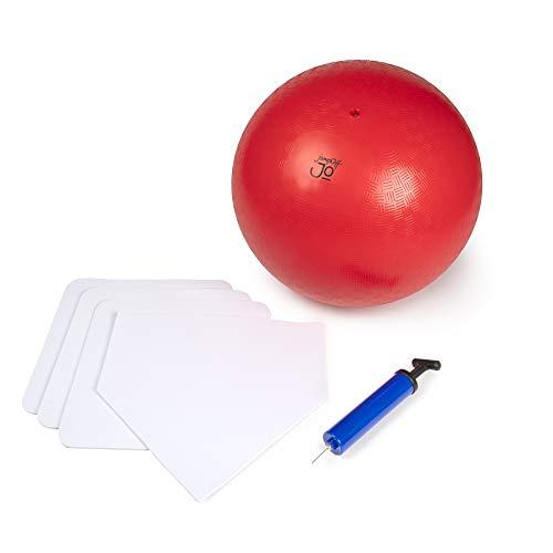 JumpOff Jo Kickball Set - Includes Large, Oversized Kickball, Bases, Ball Pump & 2 Needles