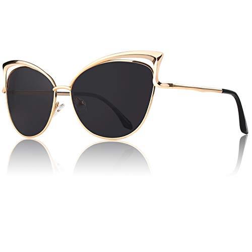 GQUEEN Mode Polarisierte ¨¹bergro?e Katzenaugen CatEye Sonnenbrille Damen Frau Gespiegelte Verspiegelt Linse Metallrahmen Cat Eye Sunglasses MT3