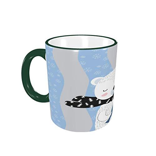Taza de café Cute Fun Cartoon Bear Winter Stripe Tazas de café Tazas de cerámica con Asas para Bebidas Calientes - Cappuccino, Latte, Tea, Cocoa Gifts 12 oz Green