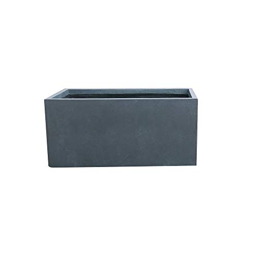 Kante RF0104B-C60121 Lightweight Concrete Modern Long Low Outdoor, Large Planter, Charcoal