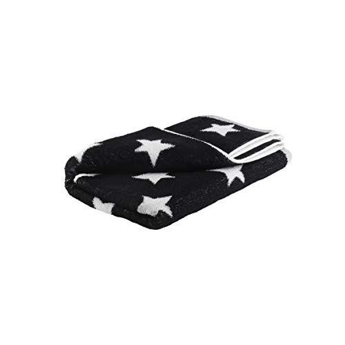 axentia Handtuch mit Sternen, Badetuch aus 100 % Baumwolle, Duschtuch hautsympathisch und saugfähig, großes Handtuch, 70 x 140 cm, schwarz/weiß