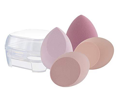 DULEE 4 Stücke Make up Schwämme Set Beauty Foundation Mischschwamm Sponge Blender für Flüssigkeit, Puder, BB-Creme und Sonnencreme,Rosa