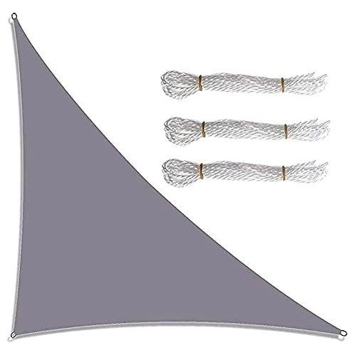 LWPCP Triangulares Impermeable Toldo Vela De Sombra 4 X 4 X 5,7 M,90% Bloquear UV Vela Parasol para Jardín, Ángulo Recto Toldos Exterior para Patios Camping Césped,Gray