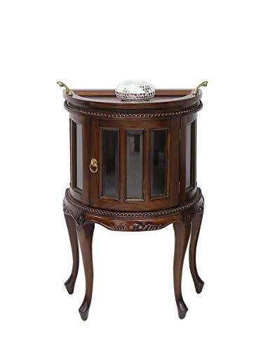 Antike Fundgrube Halbrunder Teeschrank im antik Stil aus Massivholz | Barschrank Beistelltisch | dunkler Nussbaum-Farbton | abnehmbares Tablett (4118)
