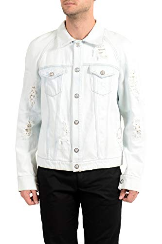 Versus by Versace Jaqueta jeans masculina azul envelhecida EUA M IT 50