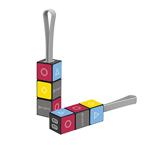 Greyghost Greyghost Cube Línea de carga de datos Llavero de carga rápida múltiple Adaptador de cable USB para adaptador de teléfono móvil Cargador de llavero