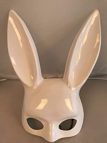 SONGSH Kaninchen Maske 1 Stück Halloween Party Bar Nachtclub Kostüm Bunny Ear Mask Urlaub liefert (Color : Light White)
