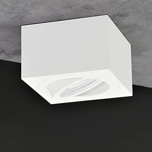 JVS Aufbauleuchte Aufbaustrahler Deckenleuchte Aufputz MILANO SMALL 5W LED Modul extra-flach Warmweiss 230V IP20 eckig weiss-glänzend schwenkbar Strahler Deckenlampe Aufbau-lampe Aluminium