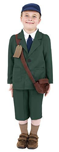 Smiffys-38669M Disfraz de evacuado de la 2a Guerra Mundial, Abrigo, Pantalones, Sombrero, Color Verde, M-Edad 7-9 años (Smiffy'S 38669M)