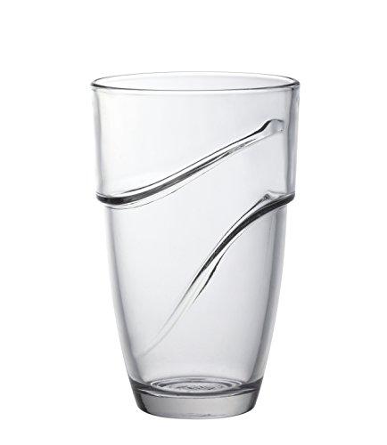 Duralex 8021418- Set de 4Vasos Altos con Ondas, Cristal Transparente