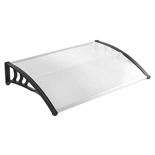 LZQ 150 x 100cm Vordach Türdach Pultbogenvordach Überdachung Polycarbonat Transparentes weiß Haustür Überdachung Haustürvordach Pultvordach (150 x 100cm, Schwarz)