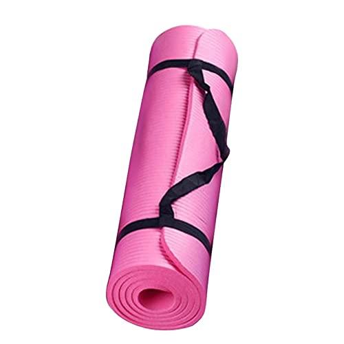 Esterilla de yoga portátil, no se desliza, con correa de transporte, para yoga, pilates, gimnasio en casa, ejercicios de suelo (23,6 x 9,8 x 0,6 pulgadas), color rojo