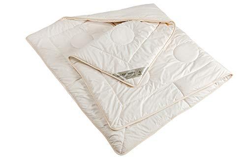 moebelfrank Bettdecke 4 Jahreszeiten Schurwolle kbT Bio BaumwolleNadia 155x220