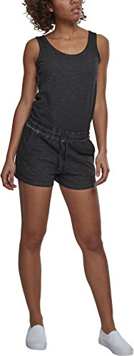 Urban Classics Damen Ladies Cold Dye Short Jumpsuit, Schwarz (Black 00007), Medium (Herstellergröße: M)
