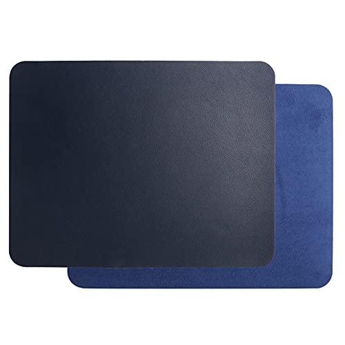 Alfombrilla para ratón, 2 alfombrillas para ratón de piel de PVC, alfombrilla de piel ultrafina de 2 mm, resistente al agua y antiincrustante, suave y no deformada, para juegos de oficina(azul)